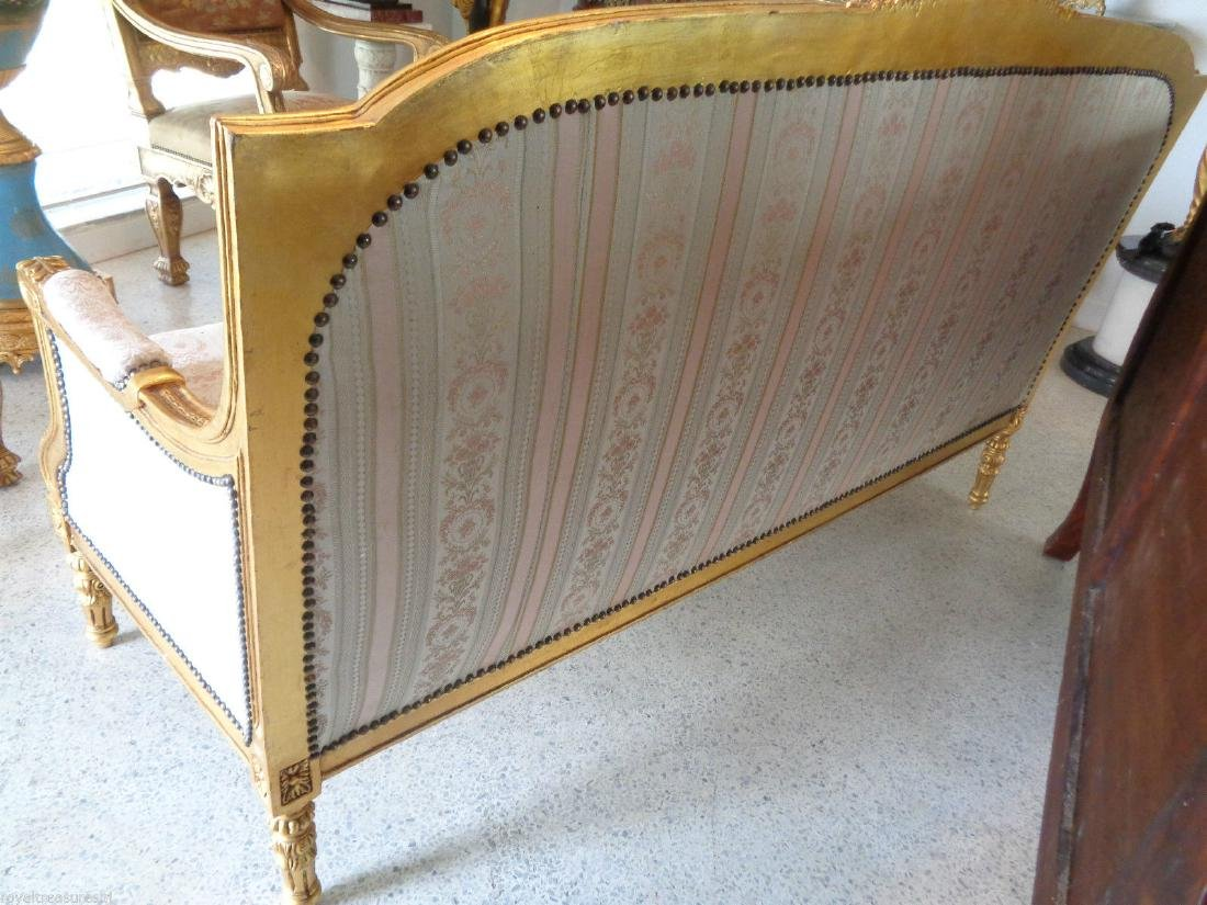 CARVED GILTWOOD SOFA SETTEE UPHOLSTERY - 9