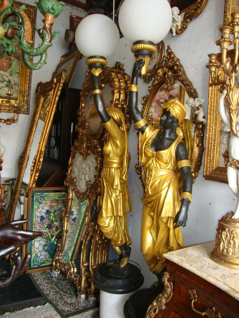 Pair Bronze Lady Blackamoor Floor Lamps