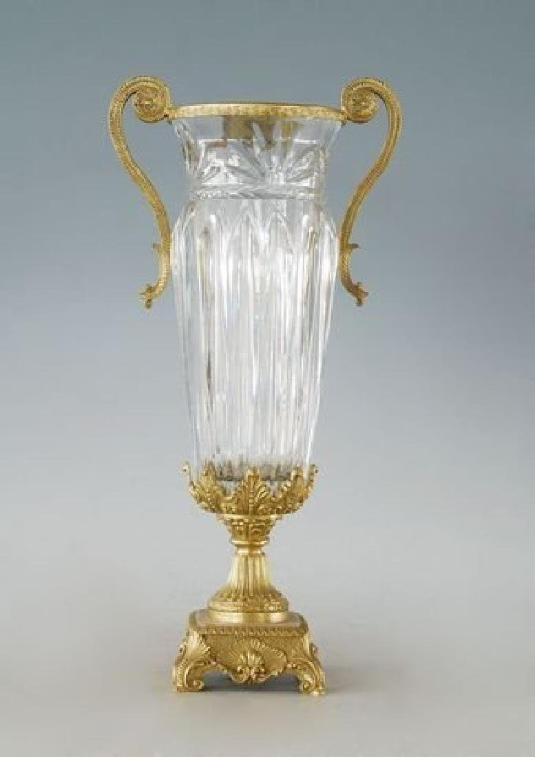 Large Crystal & Bronze Vase