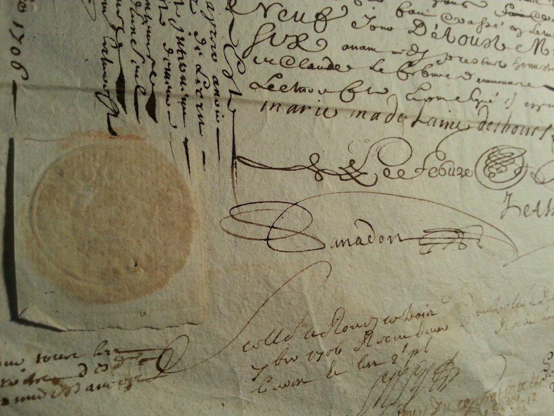 """Antique 1706 Document 8""""1/2 x 13 Signatures. Stamped"""