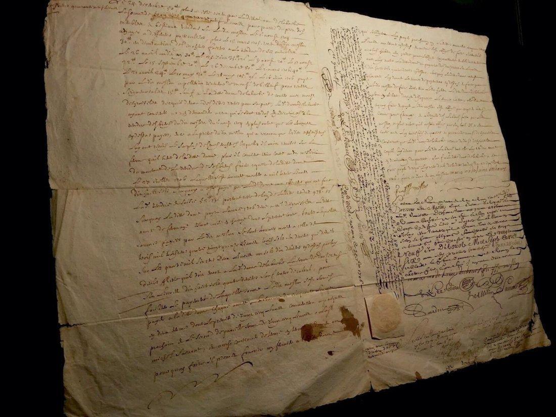 """Antique 1706 Document 8""""1/2 x 13 Signatures. Stamped - 2"""