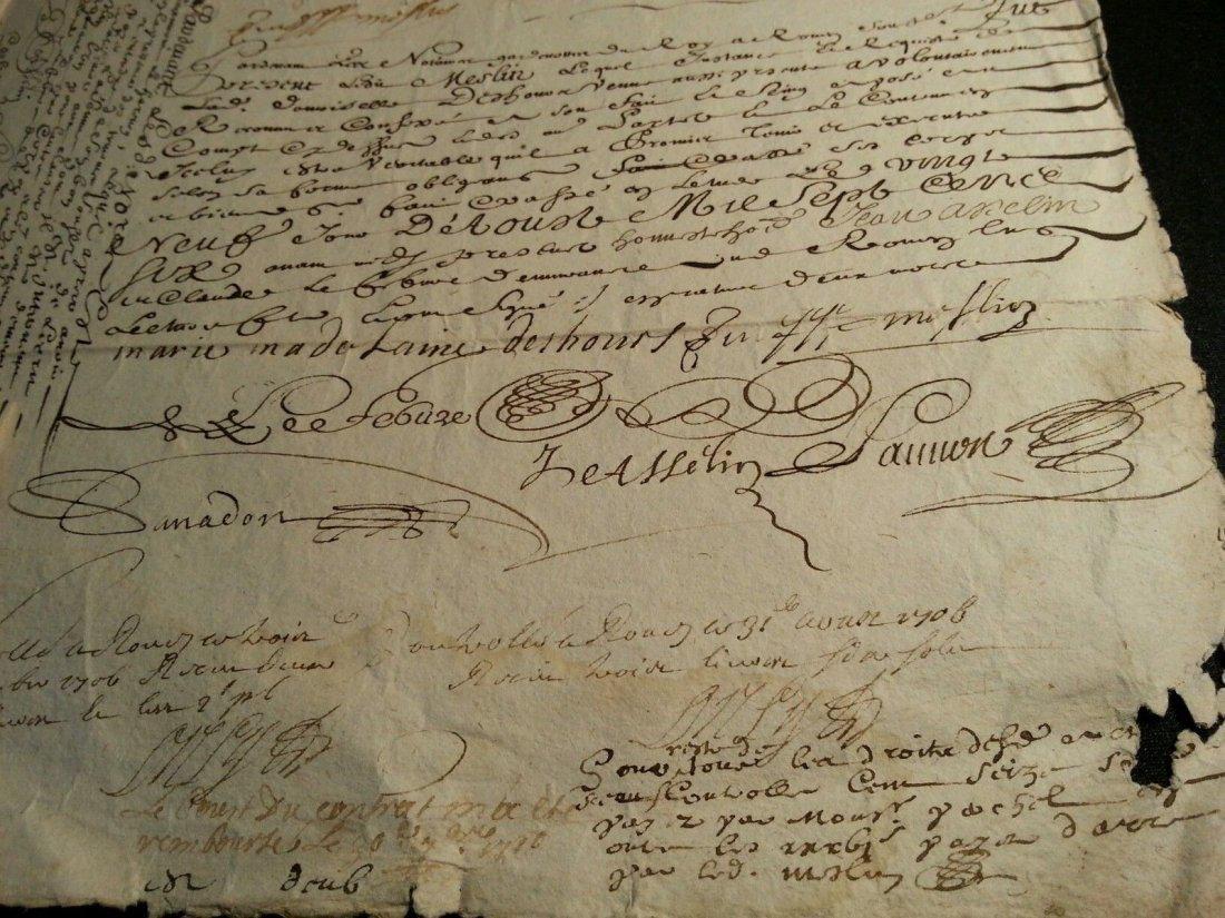 """Antique 1706 Document 8""""1/2 x 13 Signatures. Stamped - 3"""