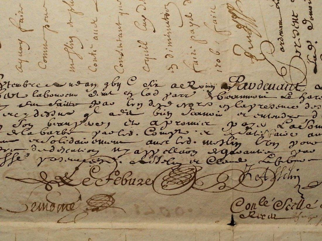 """Antique 1706 Document 8""""1/2 x 13 Signatures. Stamped - 4"""