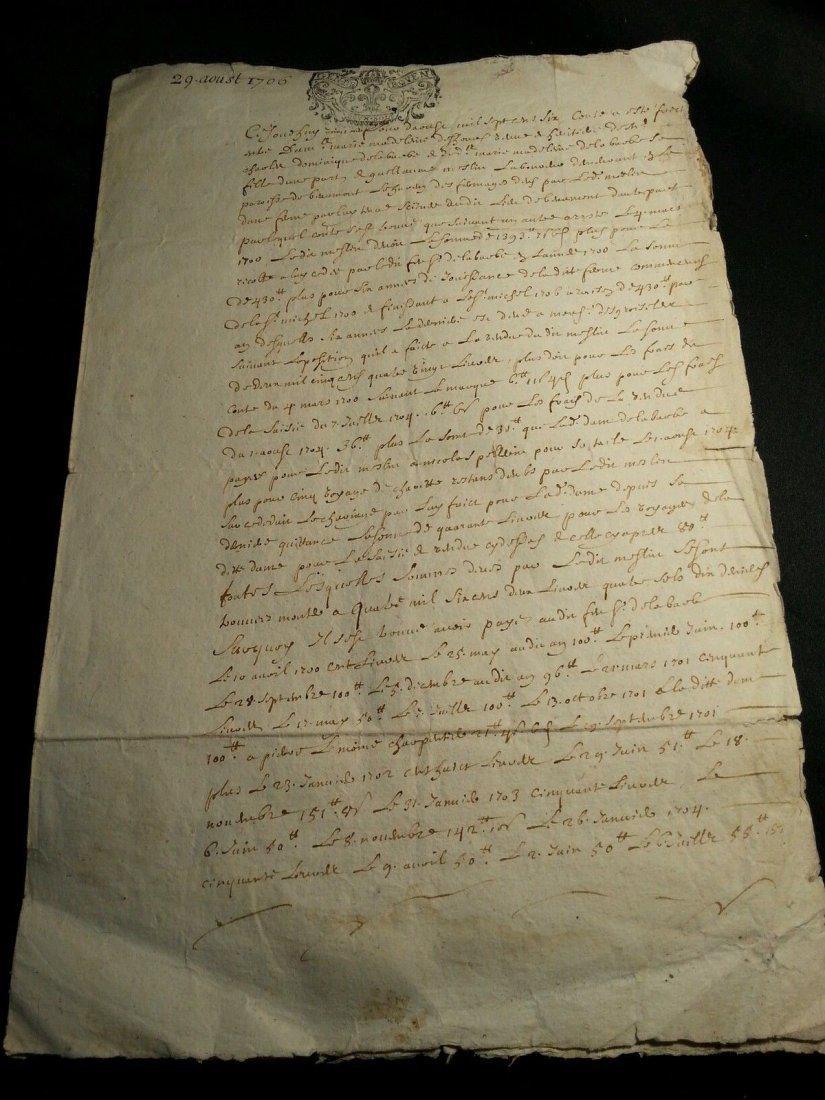 """Antique 1706 Document 8""""1/2 x 13 Signatures. Stamped - 5"""