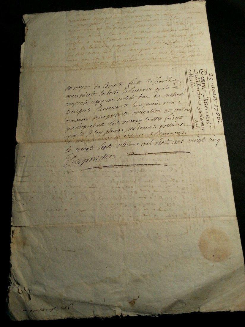 """Antique 1706 Document 8""""1/2 x 13 Signatures. Stamped - 6"""