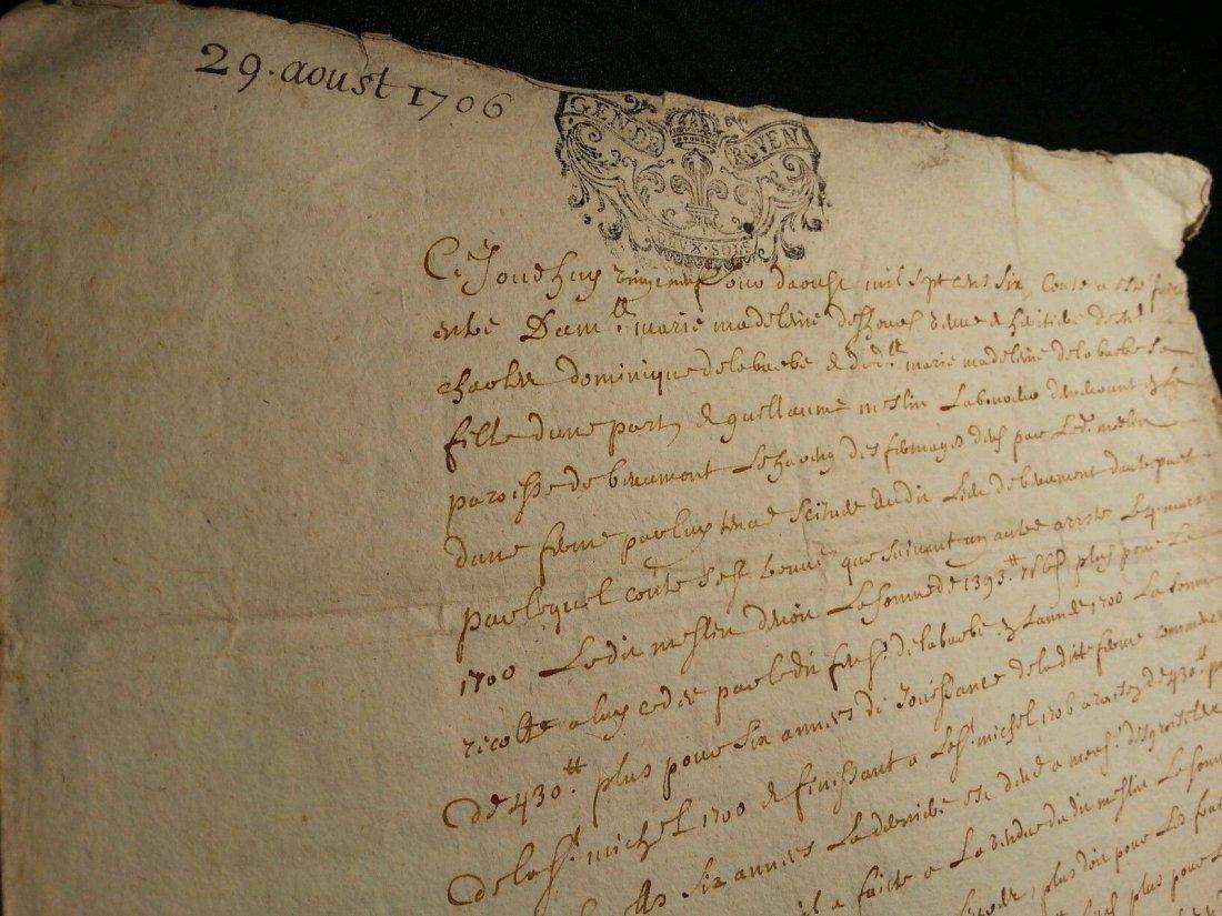 """Antique 1706 Document 8""""1/2 x 13 Signatures. Stamped - 7"""