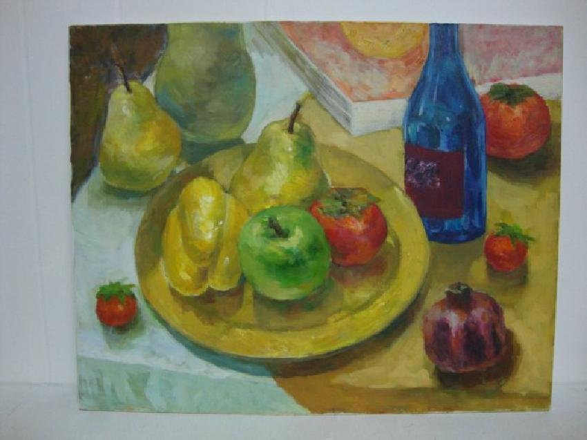 Original Oil Painting Still Life Fruit 16x20 Signed