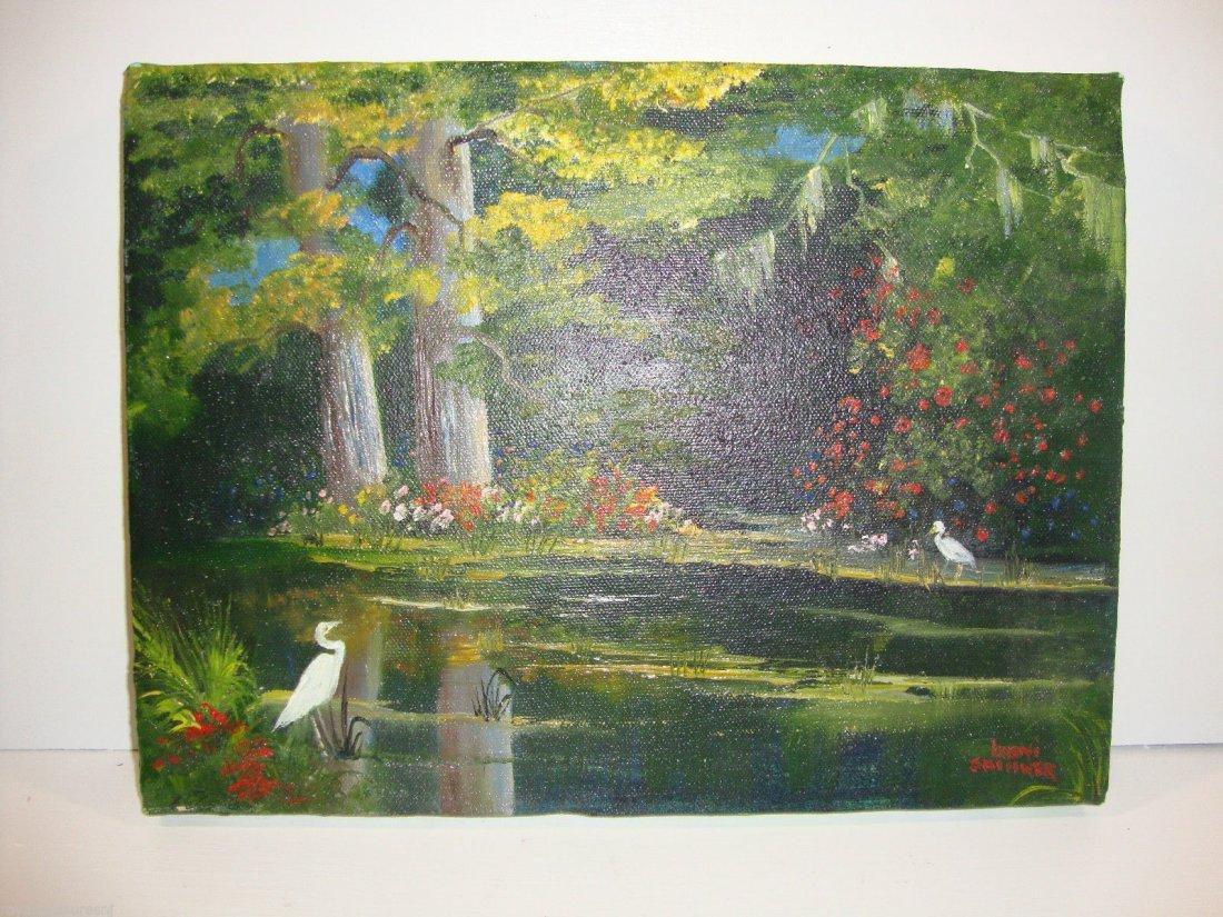"""Boni Skinner """"Exotic Birds in the Forest"""" Original Oil"""