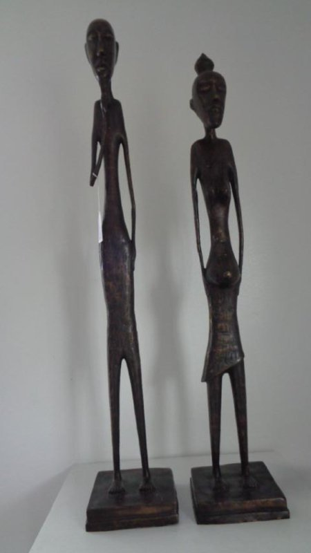 "2 Large Bronze Statues - Male & Female 41""H"