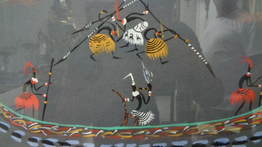 Lot of 6 Original Hand painted Tribal scene-Signed - 10