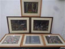 Lot of 6 Original Hand painted Tribal sceneSigned