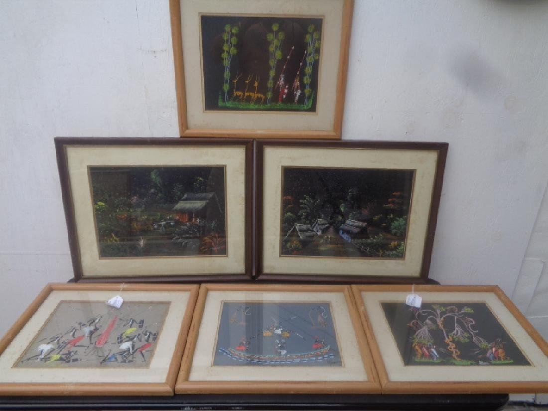 Lot of 6 Original Hand painted Tribal scene-Signed