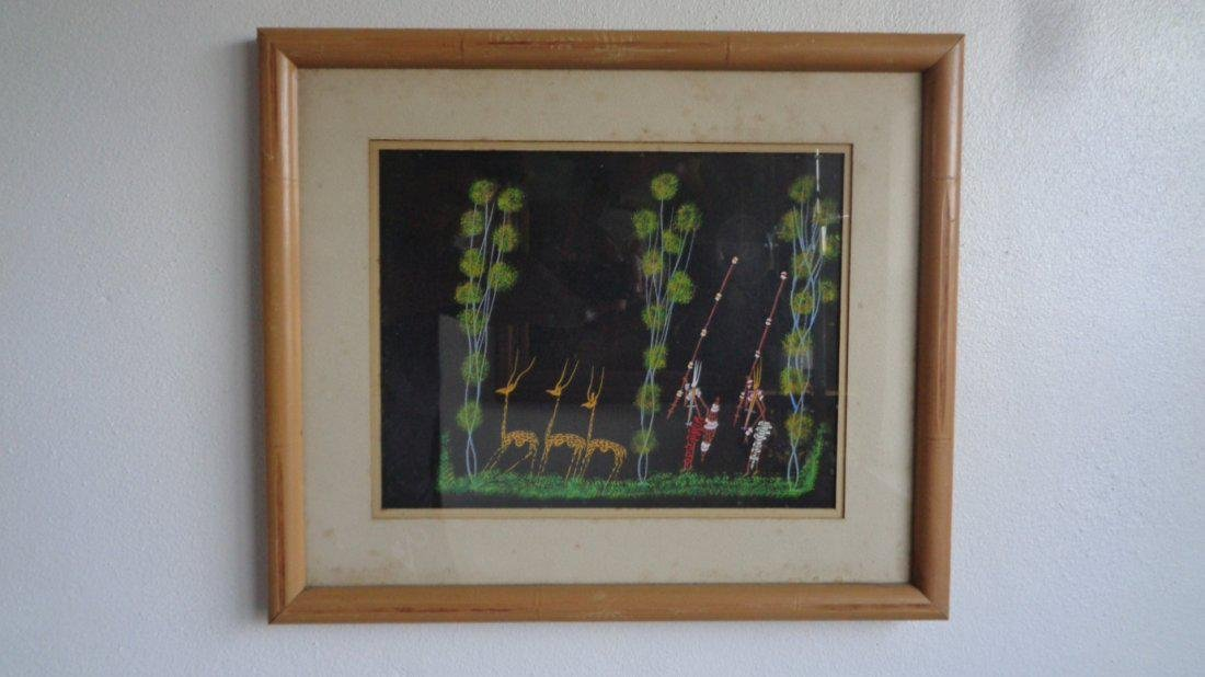 Lot of 6 Original Hand painted Tribal scene-Signed - 9