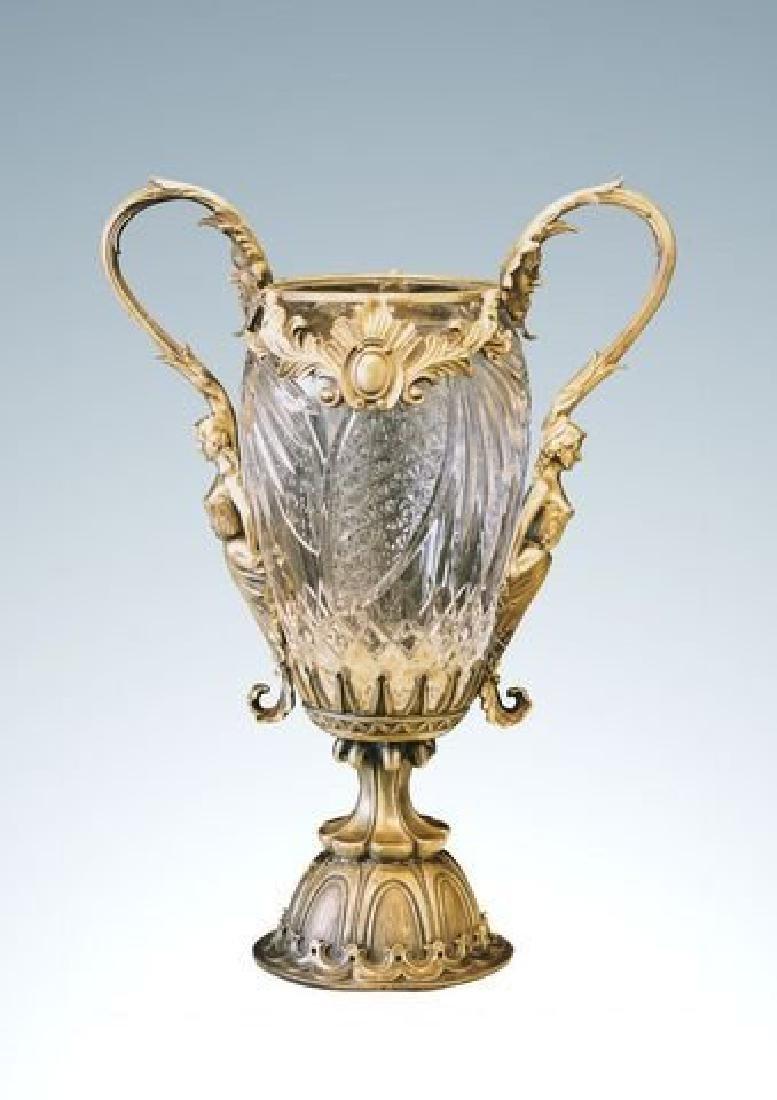 Large Bronze & Crystal Vase Figural Female Handles