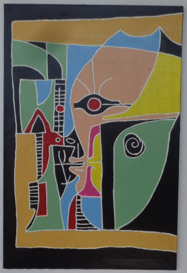Original Abstract Modern Cubism Painting signed Front a
