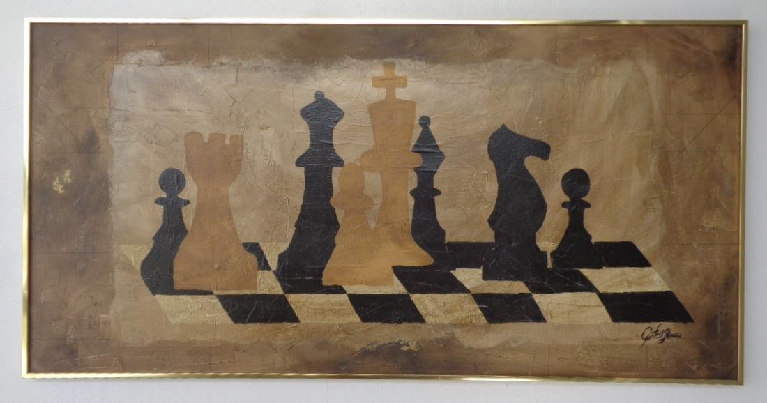 Check Mate Signed Painting Front and back. Measures App
