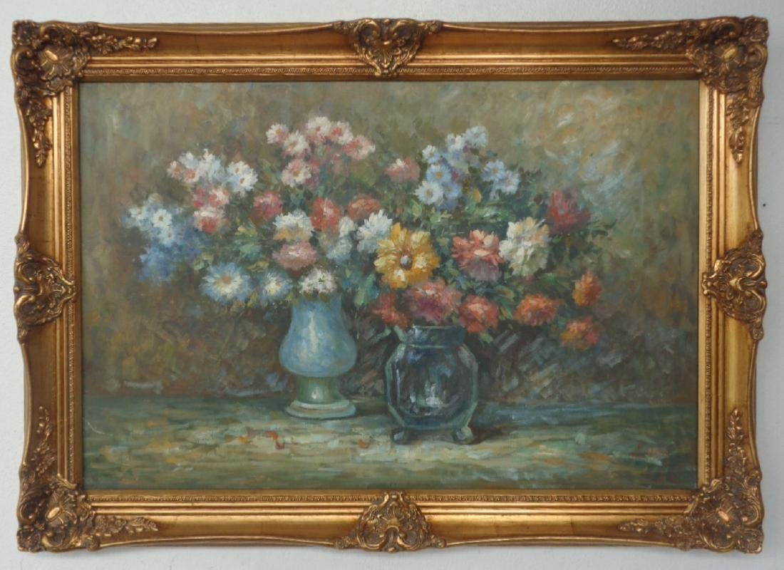 "Signed ""Still Flower"" Oil Painting on Canvas"