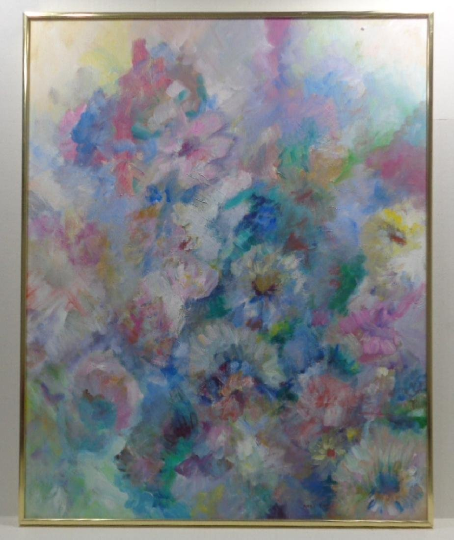 Original Annes Ennis Signed Abstract Flower Painting
