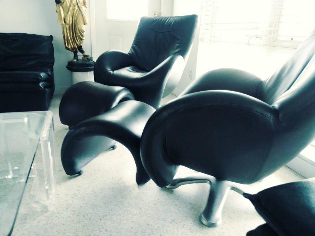Italian Designer Real Black Leather Furniture 11 Pieces