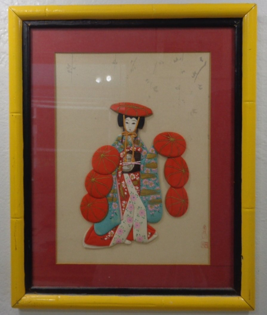 Vintage Japanese FABRIC Geisha Girl Embellished Picture