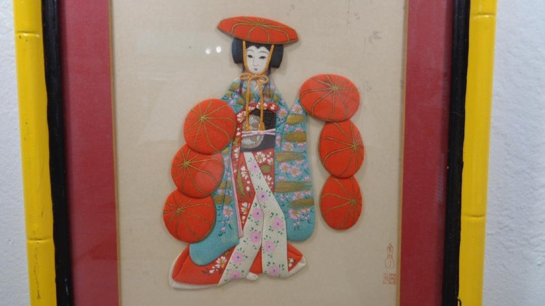 Vintage Japanese FABRIC Geisha Girl Embellished Picture - 4