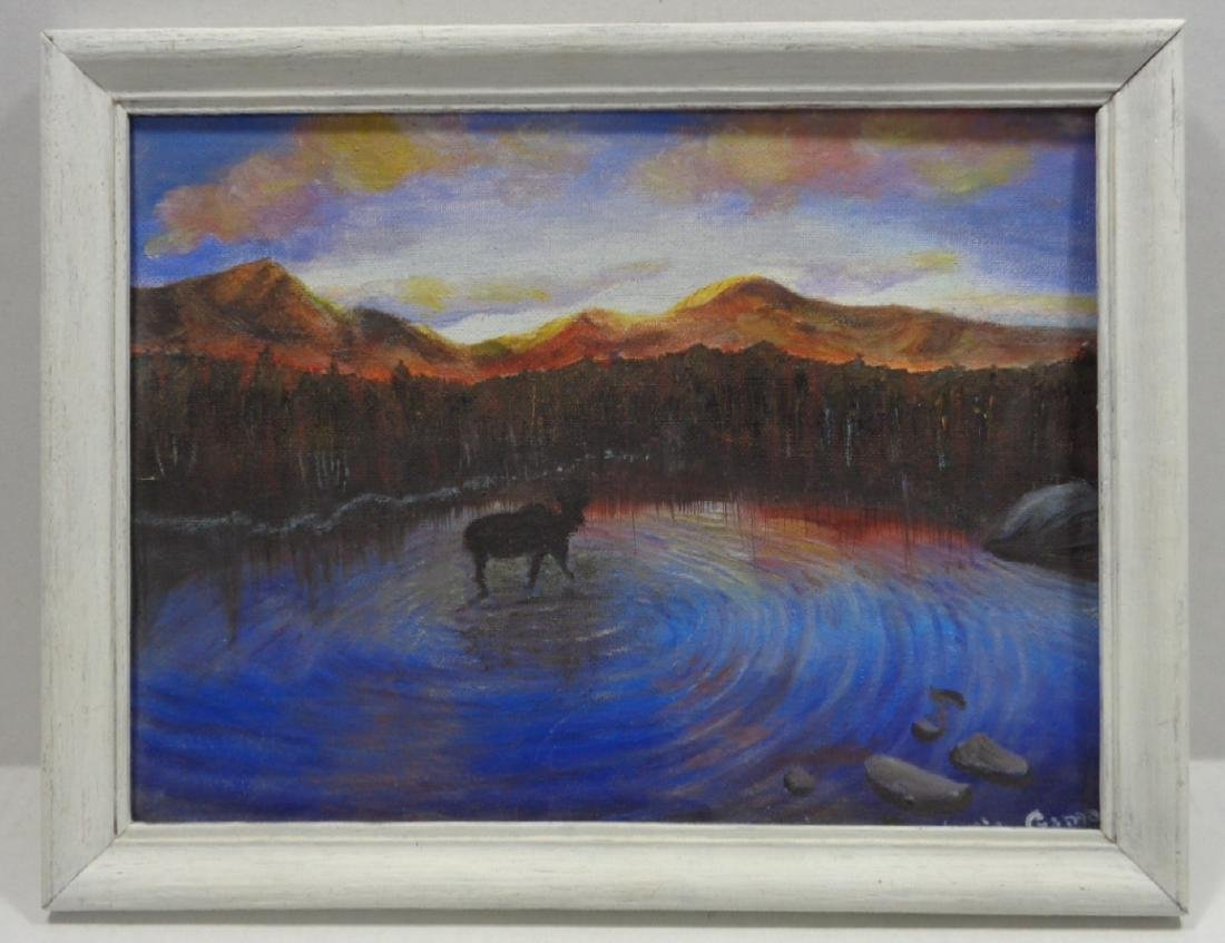 Landscape Lake Moose Oil Painting