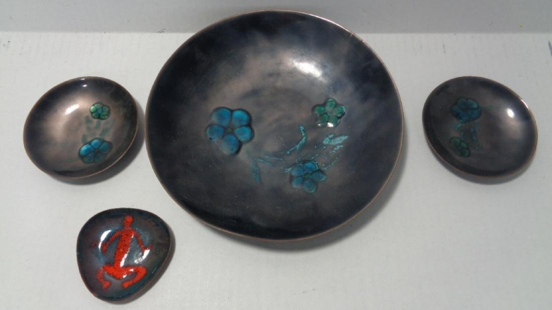 Lot of 4 Vintage Piece of Enamel on Copper