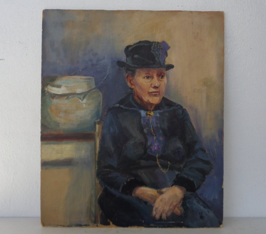 Original Signed Old Oil Painting on Card Board