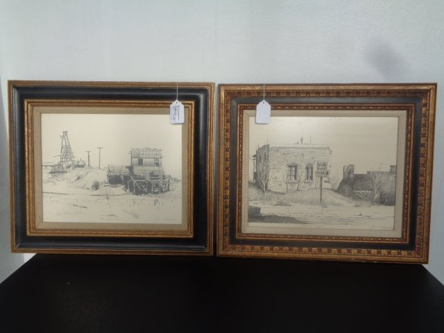 Lot of 2 Pencil Signed, John T. Fitzgerald Engraving