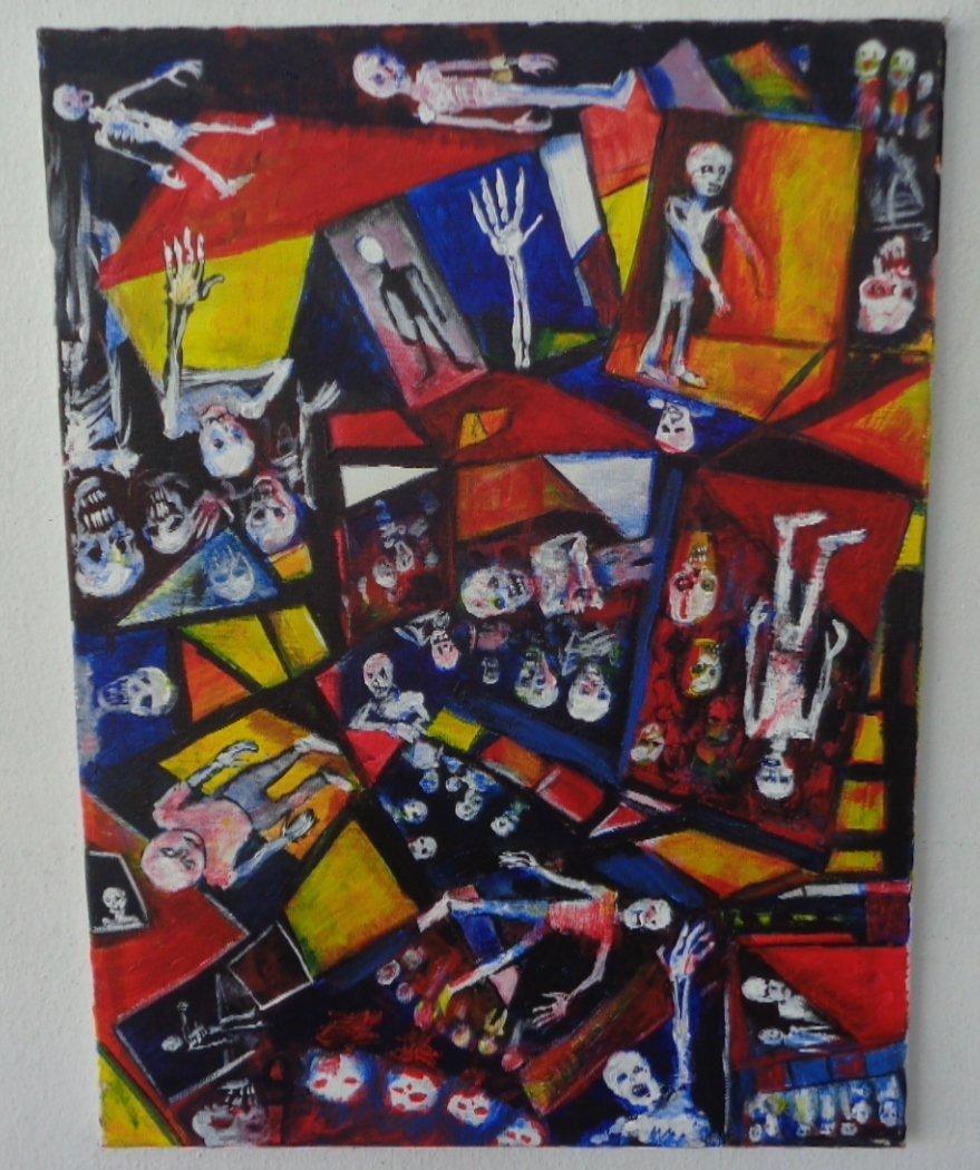 "Original J.Larson painting on canvas""Disintegration #3"""