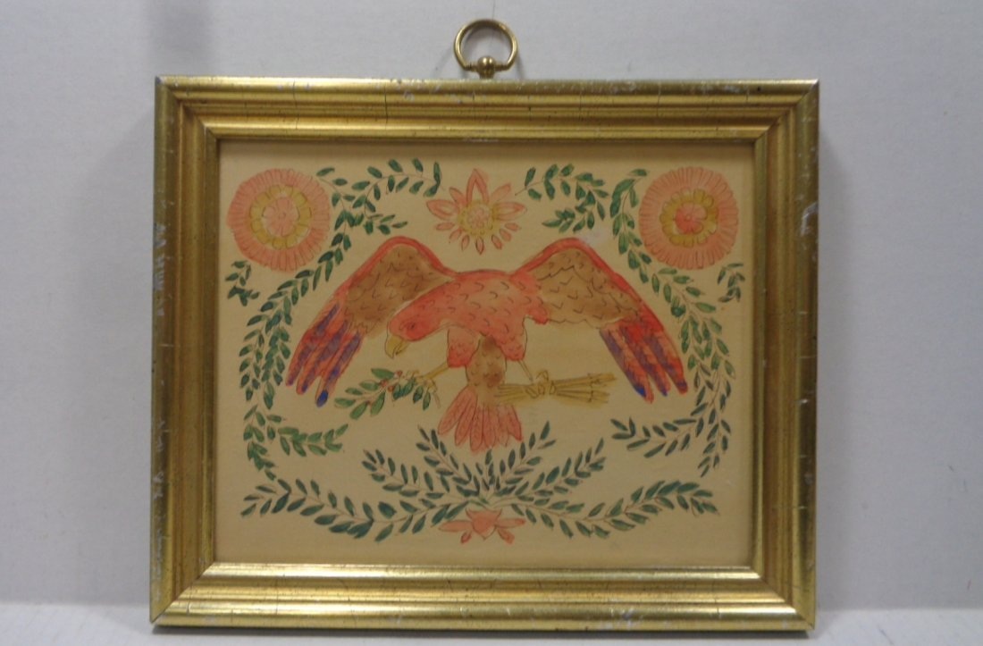Old American Eagle Drawing ink Colored USA Colonies
