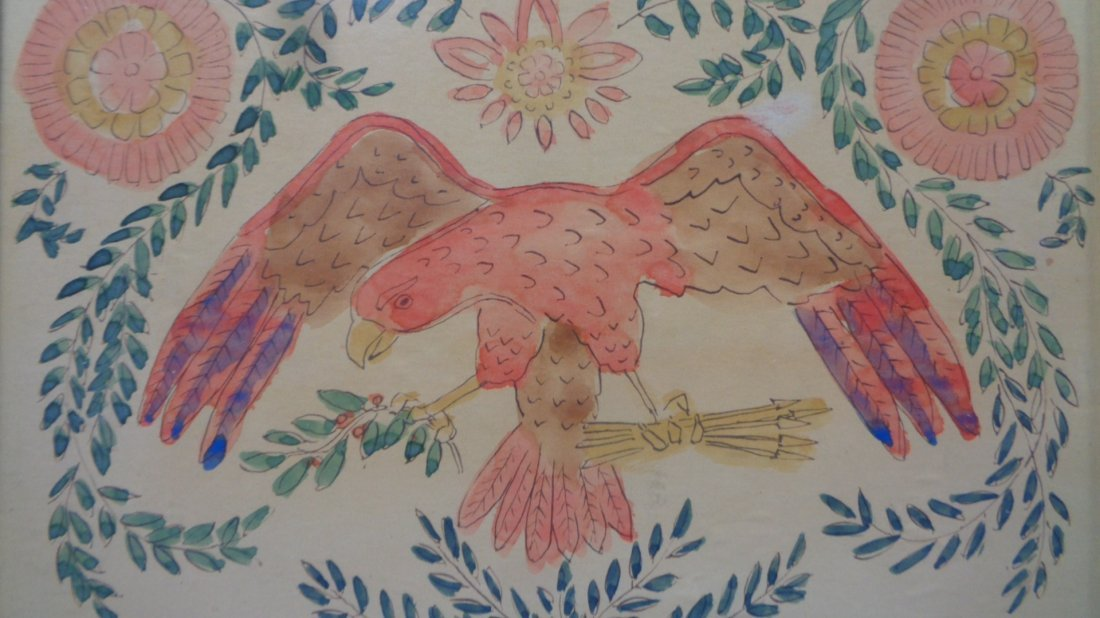 Old American Eagle Drawing ink Colored USA Colonies - 2