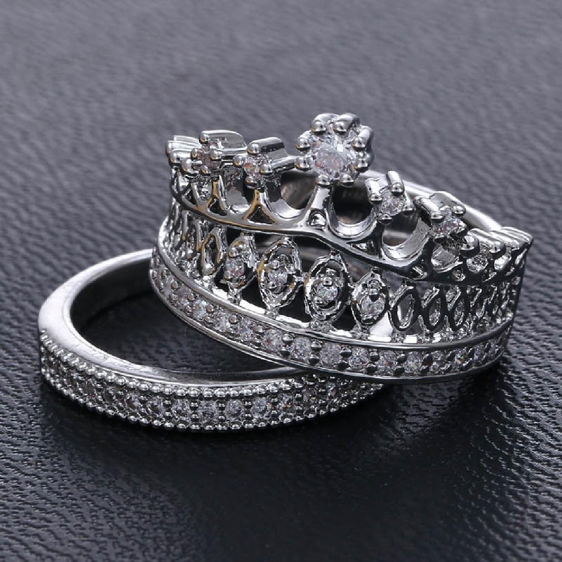 925 (CZ) Silver White Topaz Gemstone Wedding  Ring Set