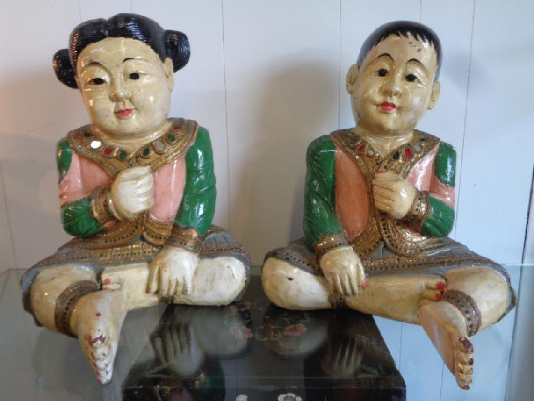 Large Vintage Asian Terra-cotta Hand Painted Sculpture