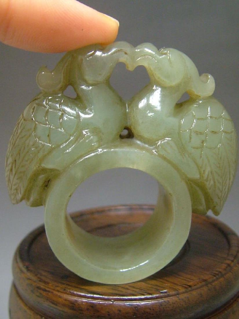 Antique Hand Carved  Chinese Celadon Nephrite Jade Ring