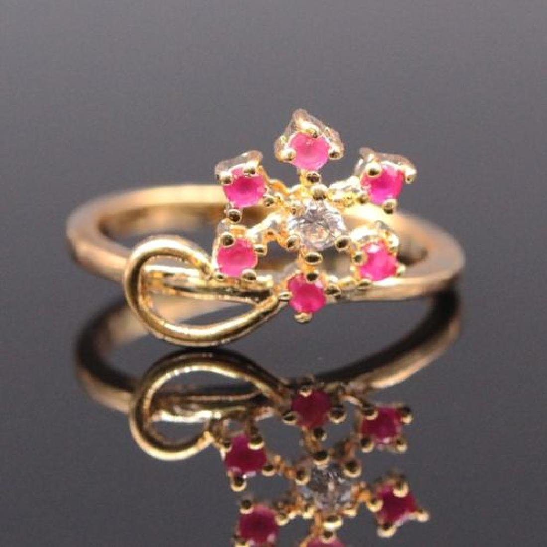 Natural Ruby Crystal Women Ring 18k Gold Plated Zircon