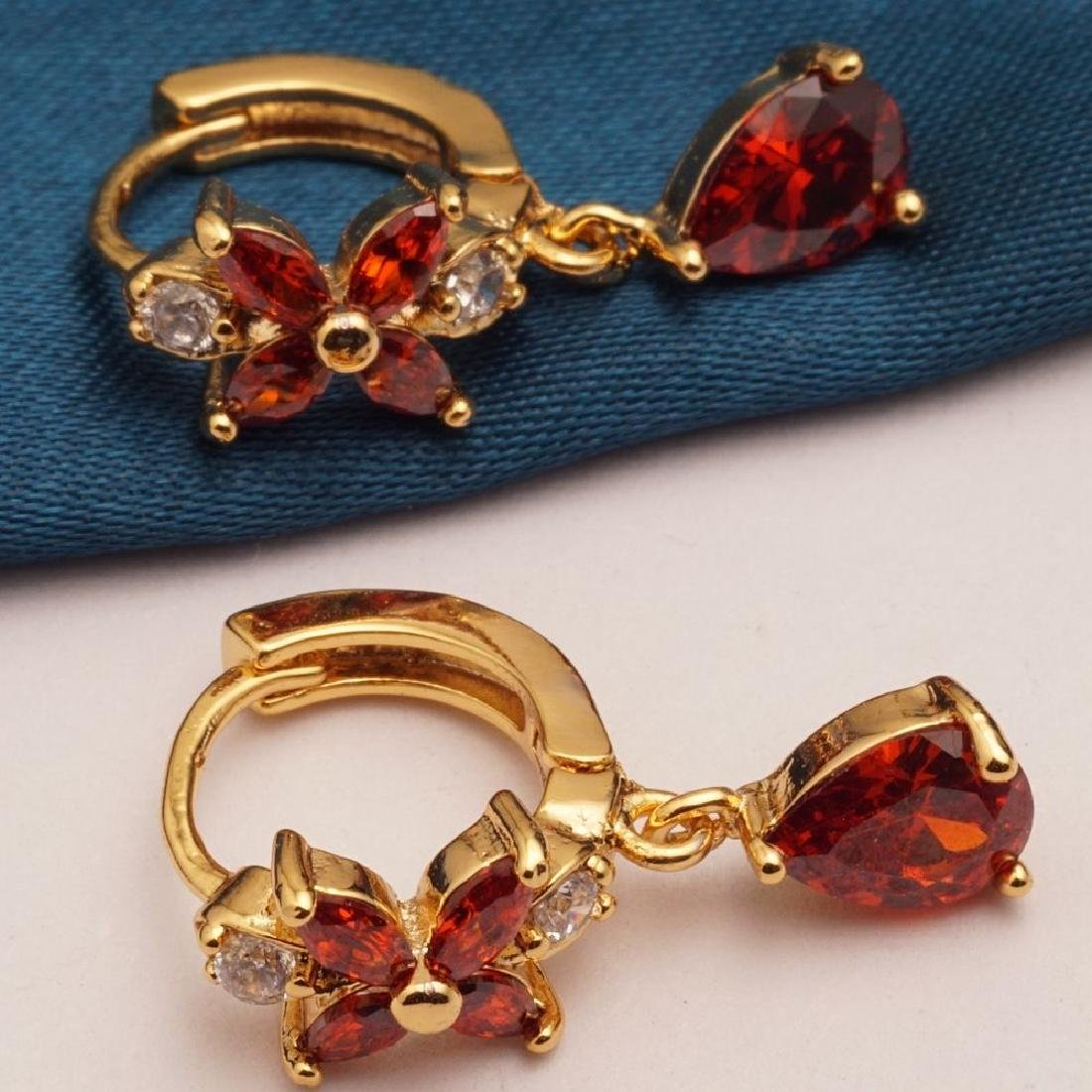 Red Cubic Zirconia Gold Plated Earrings