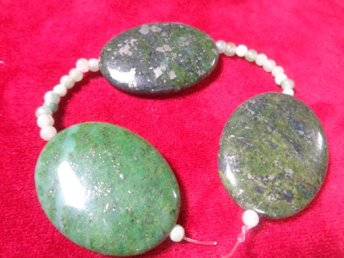 """Green Jade-Jasper Flat Oval Bead Strand 8"""" Long - Weigh"""