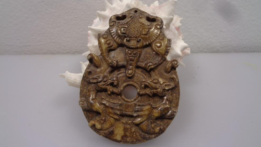Antique Carved Dragon Chinese Jade Sculpture. Size:78 x