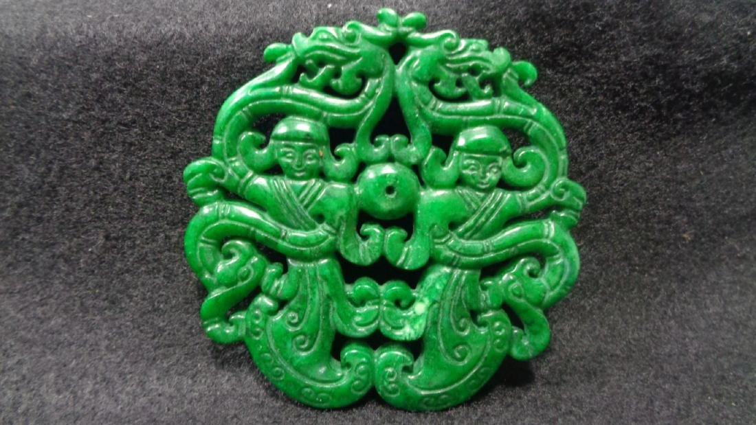 Natural Green Hand Carved Jade Medallion . Size:1 piece