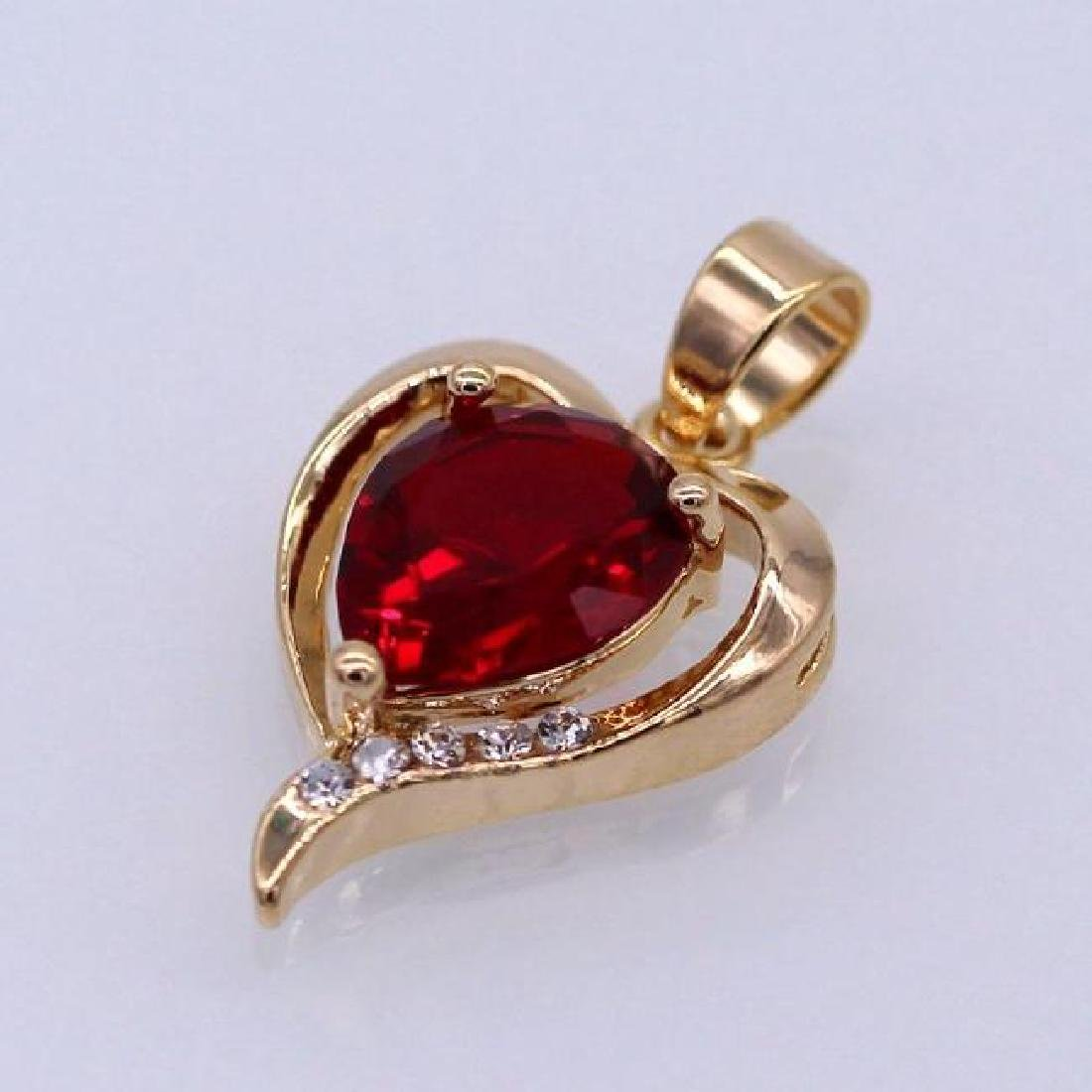 Heart Red Crystal 18K Yellow GP CZ Pendant