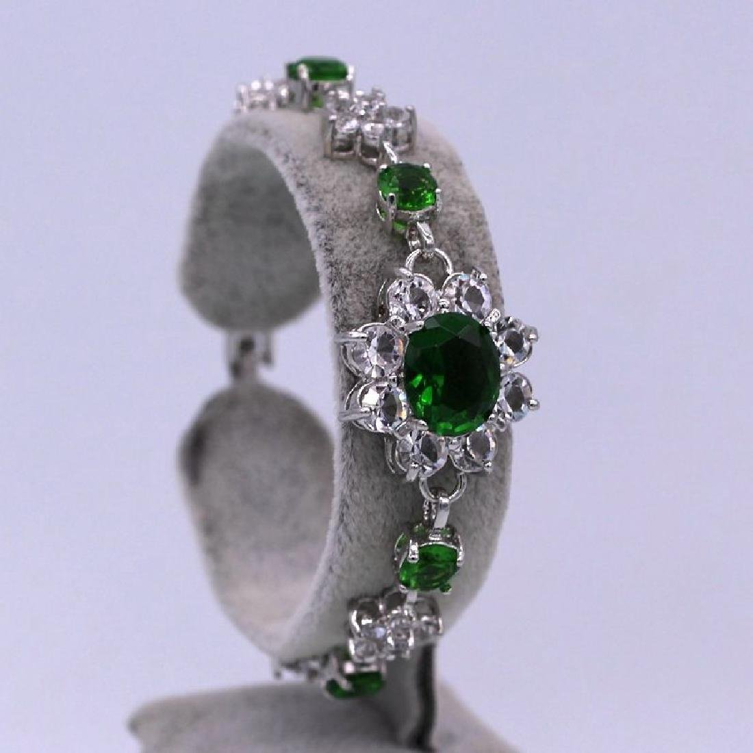 Flower Green Crystal Cubic Zirconia 18K White Gold Plat
