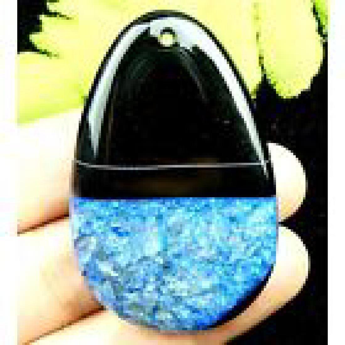 Black blue Druzy Geode Agate freeform pendant