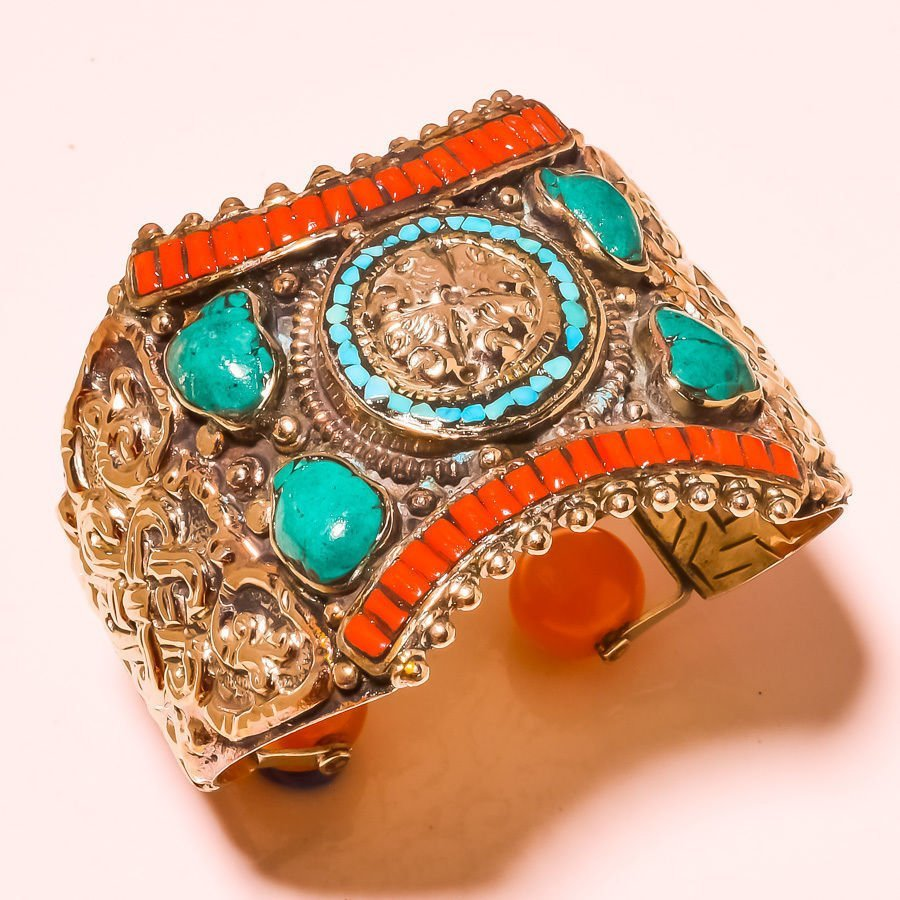 Red Coral With Turquoise Cuff