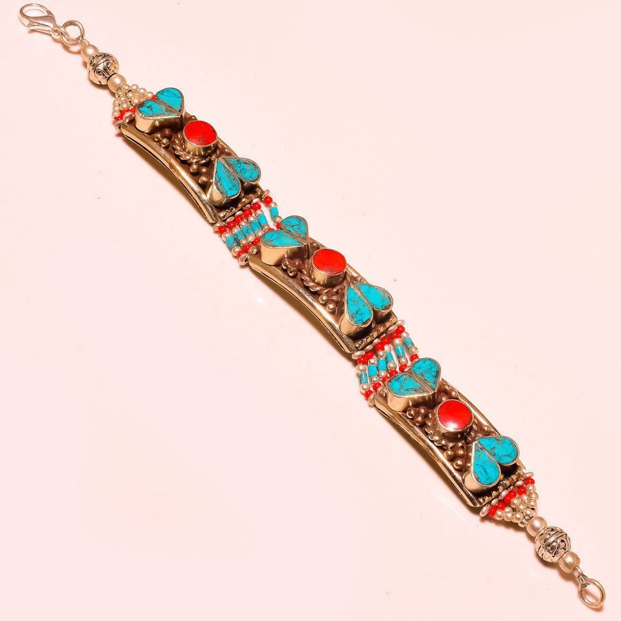 Red Coral With Turquoise Bracelet