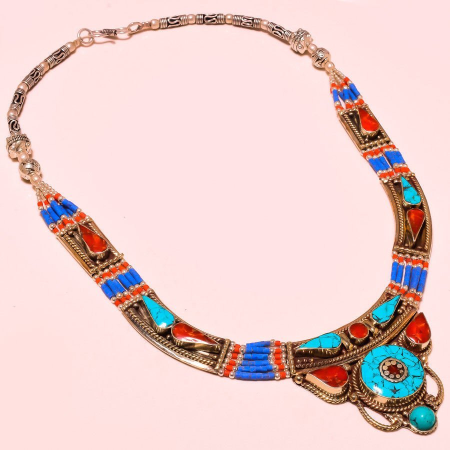 Red Coral With Turquoise Necklace