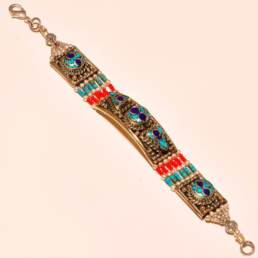 Turquoise With Red Coral Bracelet