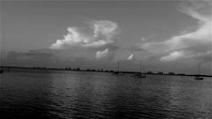 Signed Sea Water Dock Boat Black and White Photo