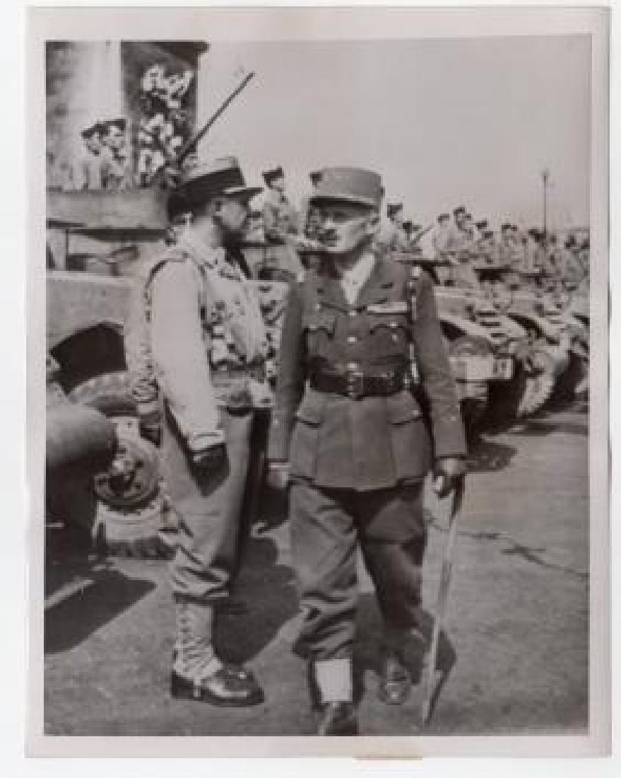 French Gen. Jacques Leclerc inspects Unit 1944 Original