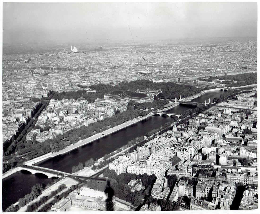 1950 Aerial Eiffel Tower Seine River bridge Paris Franc